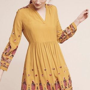Anthropologie Floreat embroidered gold dress large